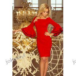 jokastyl sukienka z hiszpańskimi rękawkami Czerwona S M L XL