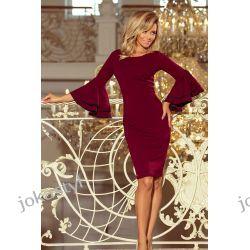 jokastyl sukienka z hiszpańskimi rękawkami BORDOWA S M L XL Odzież, Obuwie, Dodatki