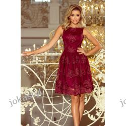 jokastyl Bordowa sukienka rozkloszowana haftowana S M L XL