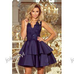 JOKASTYL Alexis sukienka piankowy dół góra koronka XS S M L granatowa  Sukienki midi