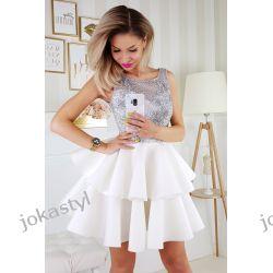 jokastyl Piankowa sukienka XS S M L biały z szarym Sukienki mini