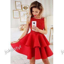 jokastyl Piankowa sukienka XS S M L czerwona Sukienki mini