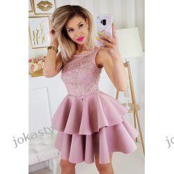 jokastyl Piankowa sukienka XS S M L pudrowy róż