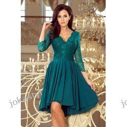 NICOLLE sukienka z dłuższym tyłem z koronkowym dekoltem BUTELKOWA ZIELEŃ