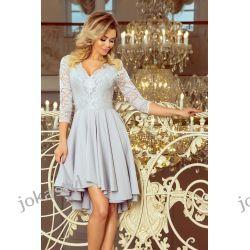 NICOLLE sukienka koronkowy dekolt Szary S M L XL XXL Odzież, Obuwie, Dodatki