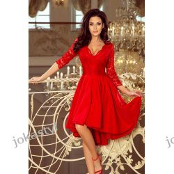 NICOLLE sukienka koronkowy dekolt CZERWONA S M L XL XXL Odzież, Obuwie, Dodatki