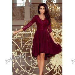 NICOLLE sukienka koronkowy dekolt BORDOWA S M L XL XXL Odzież, Obuwie, Dodatki