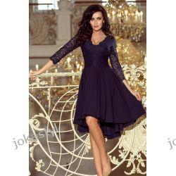 NICOLLE sukienka koronkowy dekolt GRANATOWA S M L XL XXL Odzież, Obuwie, Dodatki