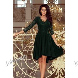 NICOLLE sukienka koronkowy dekolt CIEMNA ZIELEŃ S M L XL XXL Sukienki midi
