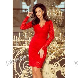 jokastyl Piękna koronkowa sukienka długi rękaw S M L XL czerwona Odzież, Obuwie, Dodatki