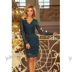 jokastyl Piękna koronkowa sukienka długi rękaw S M L XL butelkowa zieleń Odzież, Obuwie, Dodatki