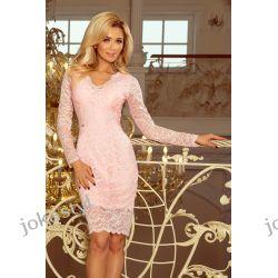 jokastyl Piękna koronkowa sukienka długi rękaw S M L XL PASTELOWY RÓŻ Sukienki mini