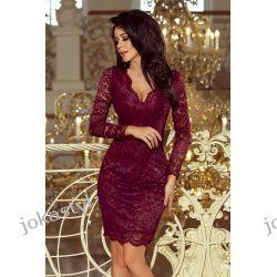 jokastyl Piękna koronkowa sukienka długi rękaw S M L XL bordowa