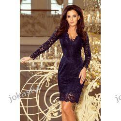 jokastyl Piękna koronkowa sukienka długi rękaw S M L XL GRANATOWA