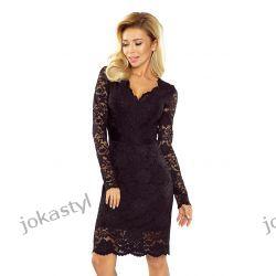 jokastyl Piękna koronkowa sukienka długi rękaw S M L XL czarna Odzież, Obuwie, Dodatki
