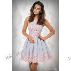 jokastyl Śliczna liliowa sukienka z koronką RÓŻ L 40 Odzież, Obuwie, Dodatki