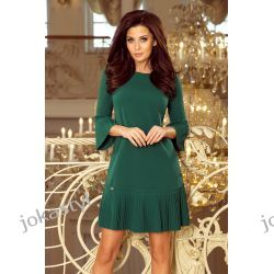 jokastyl LUCY - plisowana wygodna sukienka ZIELEŃ BUTELKOWA S M L XL Odzież, Obuwie, Dodatki