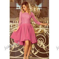 OLIVIA sukienka dłuższy tył koronka LILA S M L XL Odzież, Obuwie, Dodatki