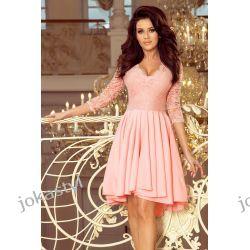 NICOLLE sukienka koronkowy dekolt pastelowy róż S M L XL XXL Sukienki maxi