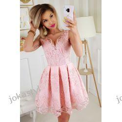 jokastyl urocza sukienka koronka pudrowy róż XS S M L