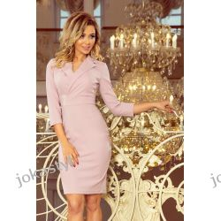 jokastyl KELLY Elegancka sukienka z dekoltem - lila S M L XL Odzież damska