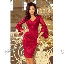 jokastyl Koronkowa sukienka rozkloszowane rękawy BORDOWA S M L XL Odzież damska