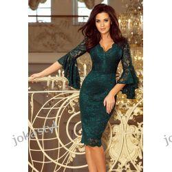 jokastyl Koronkowa sukienka rozkloszowane rękawy ZIELONA S M L XL Odzież damska
