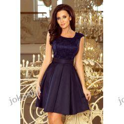jokastyl FLORA sukienka dekolt koronka granatowa S M L XL