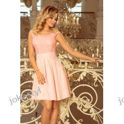 jokastyl FLORA sukienka dekolt koronka pastelowy róż S M L XL