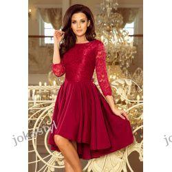 JOKASTYL OLIVIA sukienka dłuższy tył koronka BORDO S M L XL
