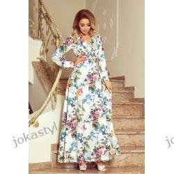 JOKA Sukienka MAXI kolorowe róże niebieskie ptaki S M L XL Odzież damska
