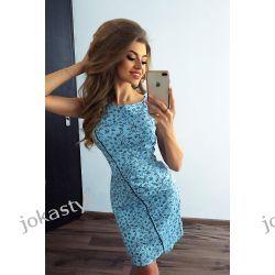 jokastyl Sukienka niebieska czarna lamówka XS S M L XL XXL Sukienki maxi
