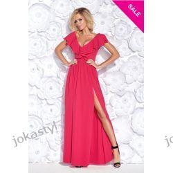 Jokastyl Długa suknia w kolorze fuksji falbana XL 42  Odzież damska