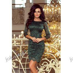 JOKASTYL Sukienka koronkowa ZIELONA S M L XL rękaw 3/4te