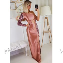jokastyl Piekna długa sukienka różowa S M L XL cekiny kolory