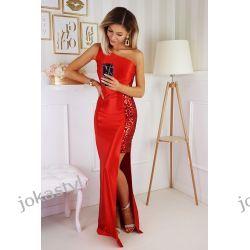 jokastyl Piekna długa sukienka czerwona S M L XL cekiny kolory Sukienki maxi