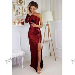 jokastyl Piekna długa sukienka bordowa S M L XL cekiny kolory