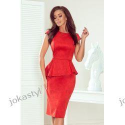 jokastyl Czerwona sukienka baskinka zamsz S M L XL XXL