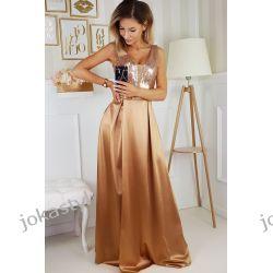 jokastyl Długa złota sukienka błyszcząca góra S M L XL