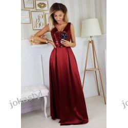 jokastyl Długa borowa sukienka błyszcząca góra S M L XL