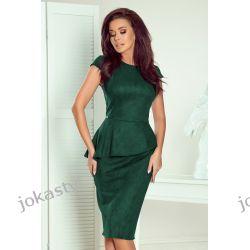 Jokastyl zielona sukienka z baskinka XL 42 kolory rozmiary zamsz