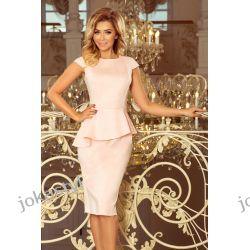Jokastyl różowa sukienka z baskinka XL 42 kolory rozmiary zamsz
