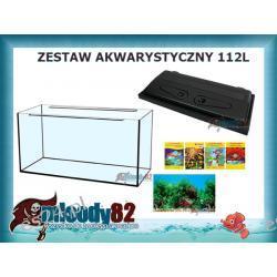 Zestaw Akwarium proste 112l z pokrywą + Gratisy