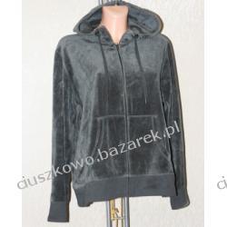 Welurowa czarna bluza z kapturem