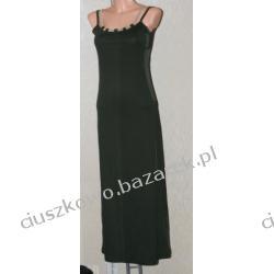 Długa zwiewna ciemnozielona sukienka