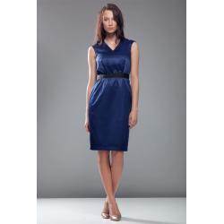 Sukienka podkreślająca talię - granat - S24...