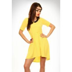 3332-1 Sukienka na krótki rękaw z koronką i przedłużonym tyłem - żółty...