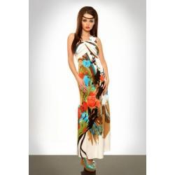 3328-3 Długa sukienka zakładana na jedno ramię - brązowy...