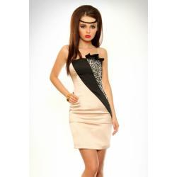 3302-1 Sukienka na ramiączkach ze srebrnymi kamieniami - beżowy...