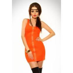 2306-5 Dopasowana sukienka na ramiączkach z suwakiem - pomarańczowy...